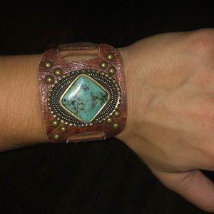 Leather rock bracelet